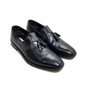Mezlan Black Leather Tassel Slip-Ons